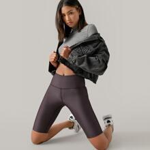 Wide Waistband Solid Biker Shorts