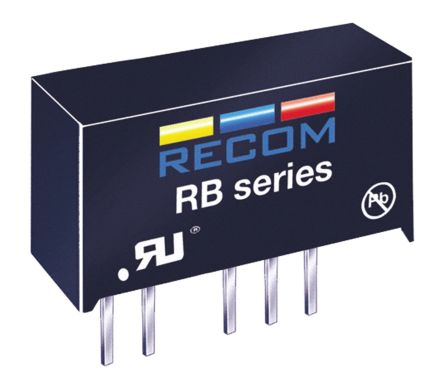 Recom RB 1W Isolated DC-DC Converter Through Hole, Voltage in 21.6 → 26.4 V dc, Voltage out ±15V dc