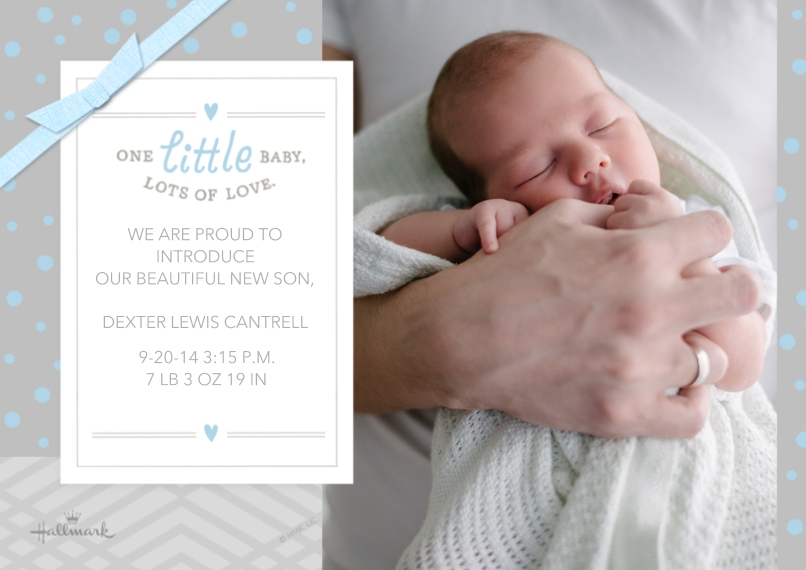 Baby Boy Announcements 5x7 Cards, Premium Cardstock 120lb with Scalloped Corners, Card & Stationery -Lots of Love - Blue