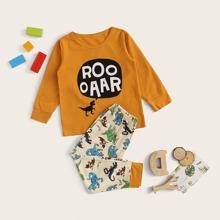 Kleinkind Jungen PJ Set mit Buchstaben und Dinosauier Muster
