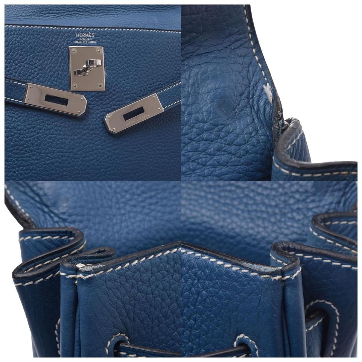 Hermes - Sac a main Kelly 32 pour femme en cuir - bleu