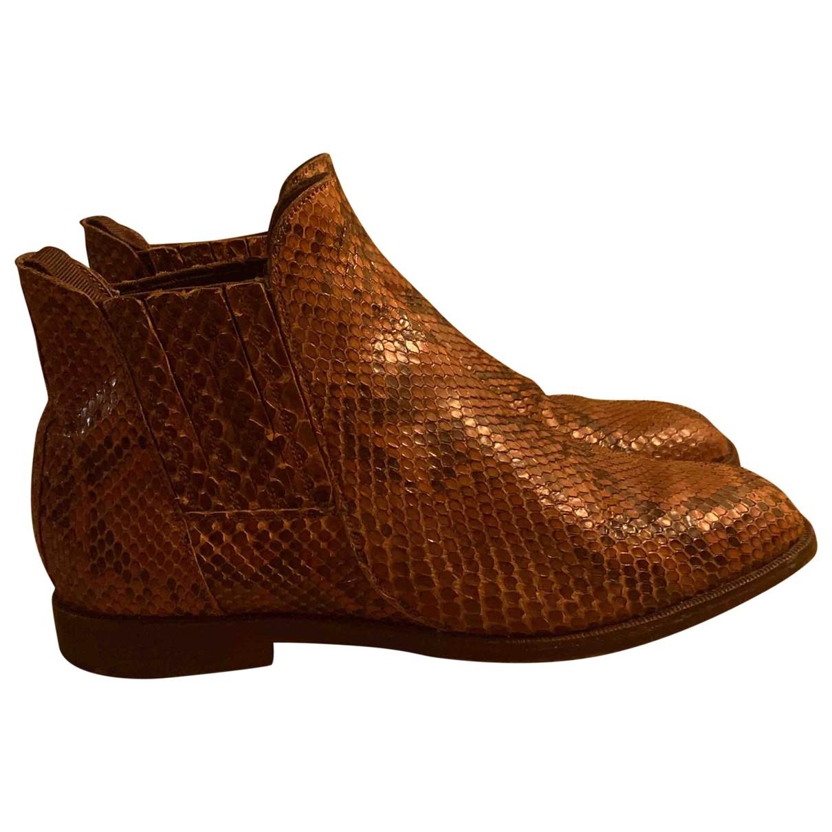 Sartore - Boots   pour femme en python - marron