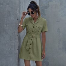 Patch Pocket Buckle Belted Shirt Dress