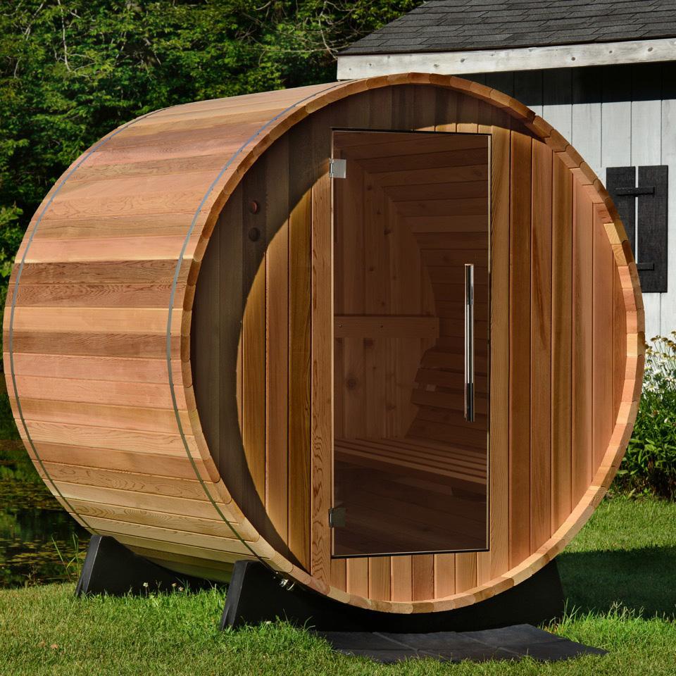 Watoga Electric Barrel Sauna in Clear Cedar
