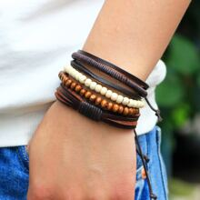 4pcs Men Layered Bracelet