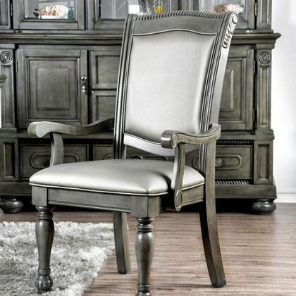 Alpena Collection CM3350GY-AC-2PK Set of 2 Arm Chairs With Traditional Style And Turned Legs In Brown