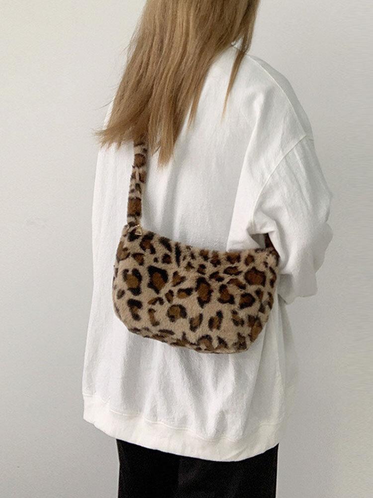 Women Plush Leopard Crossbody Bag Shoulder Bag