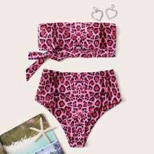 Leopard Knot Bandeau High Waisted Bikini Swimsuit