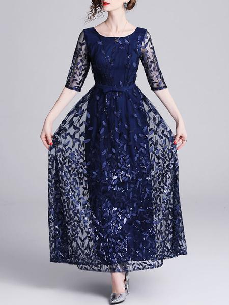 Milanoo Vestidos de fiesta azul profundo Vestido de noche semi largo con media manga y cuello joya para mujer