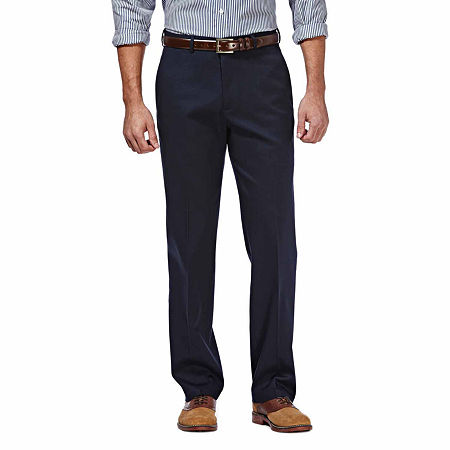 Haggar Premium No Iron Classic-Fit Flat-Front Khakis, 40 30, Blue