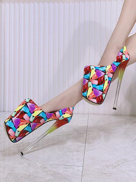 Milanoo Women Platform Shoes High Heels Black Square Toe Printed Sexy Shoes