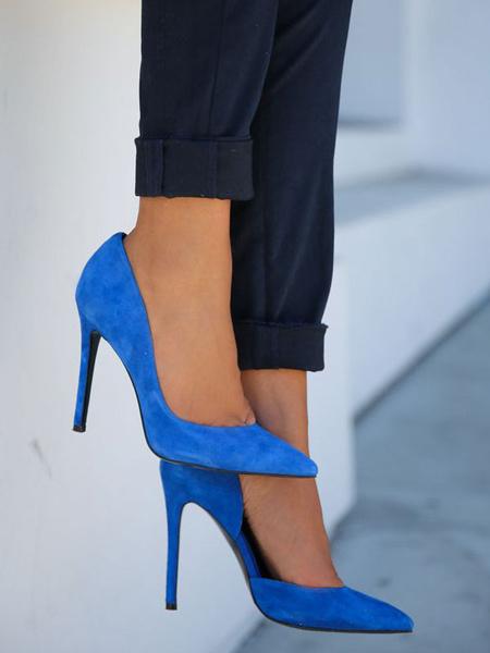 Milanoo Women's Pointed Toe High Heels Nubuck blue Stiletto Plus Size Pumps Shoes