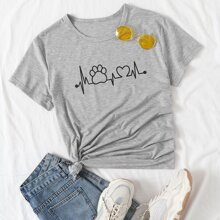 T-Shirt mit Herzschlag Muster