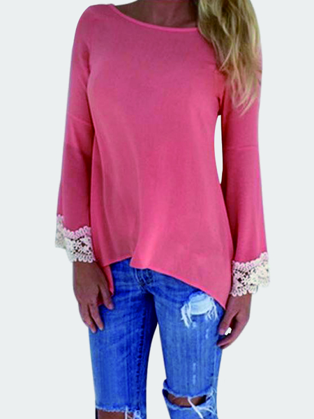 Yoins Watermelon Red Casual Lace Details Lace-up Back Blouse