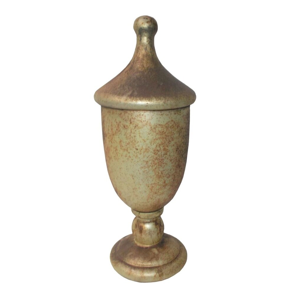15 Metallic Gold Rustic Finish Lidded Trophy Tabletop Decor (Gold)