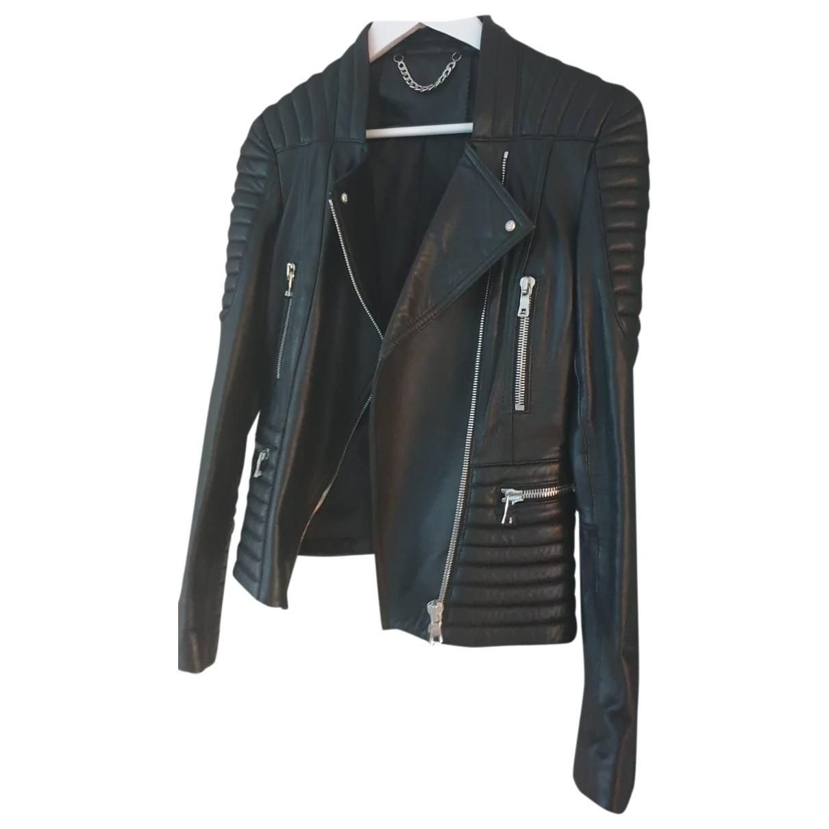 Balmain \N Black Leather jacket for Women 38 FR