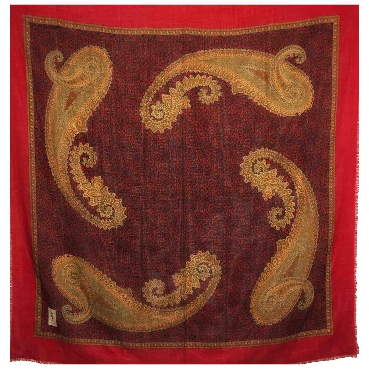 Yves Saint Laurent \N Red Wool Silk handkerchief for Women \N