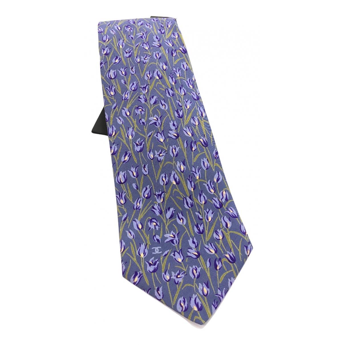 Chanel N Blue Silk Ties for Men N
