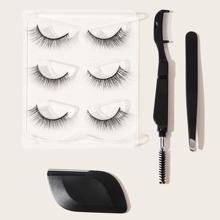 3pairs False Eyelashes & 1pc Eyebrow Trimmer & 1pc Eyelash Comb & 1pc Eyebrow Clip
