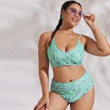 Bikini Badeanzug mit Grafik und hoher Taille