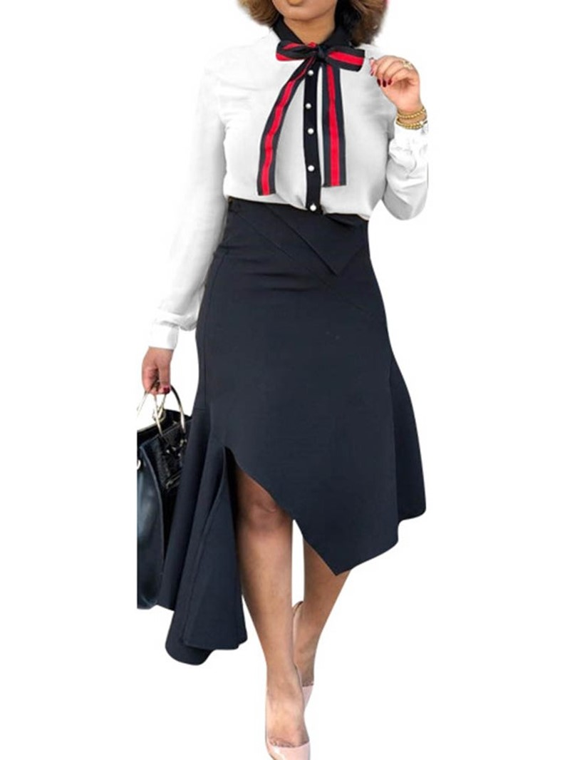 Ericdress Shirt Fashion Color Block Lapel Single-Breasted Two Piece Sets