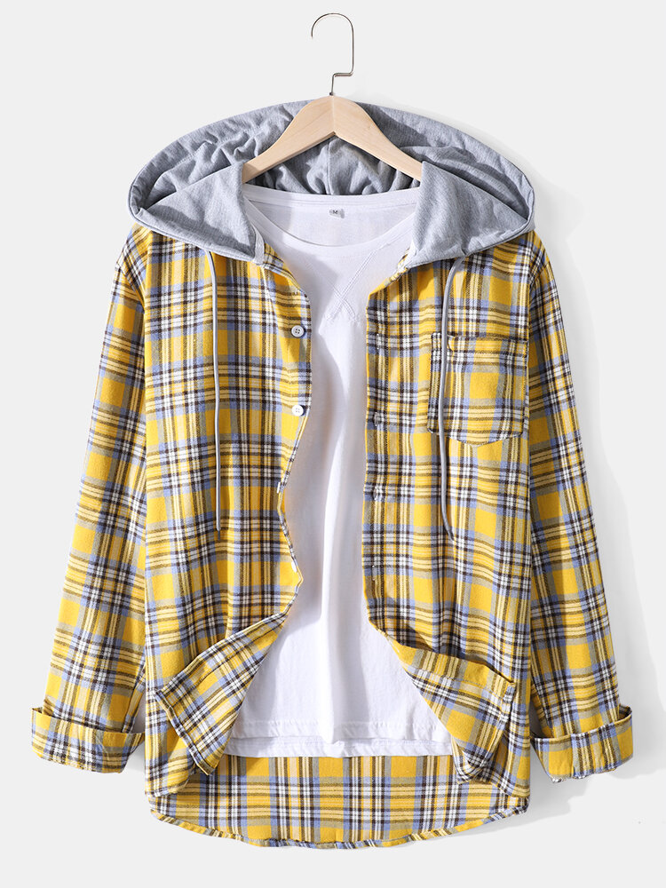 Mens Cotton Plaid Long Sleeve Chest Pocket Drawstring Hooded Shirts