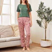 Slogan Graphic Tee & Cartoon Pants Pajama Set