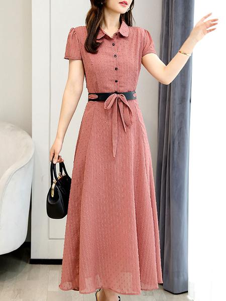 Milanoo Vestidos largos de gasa Vestido de camisa de manga corta