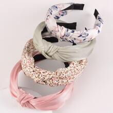 4pcs Knot Decor Floral Pattern Hair Hoop