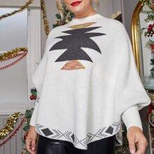 Jersey poncho con patron de Navidad