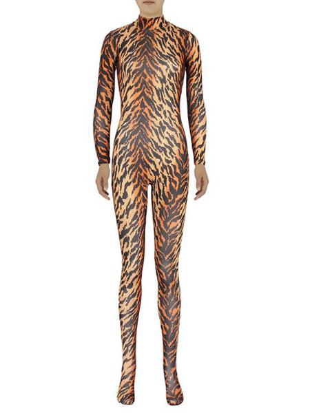 Milanoo Tiger Print Morph Suit Adults Bodysuit Lycra Spandex Catsuit for Women