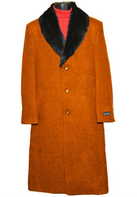 Mens 3Button Wool Fur Collar Single Breasted Rust Full Length Overcoat