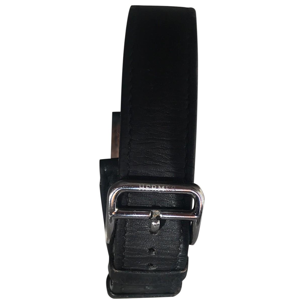 Hermes - Montre   pour femme en cuir - noir
