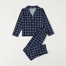 Boys Plaid Lapel Collar PJ Set