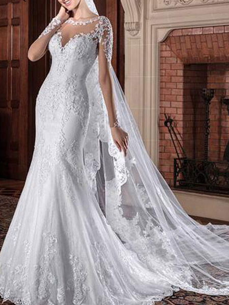 Milanoo Wedding Dresses Jewel Neck Long Sleeves Natural Waist Lace Court Train Bridal Gowns