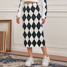 Argyle Pattern Knit Skirt