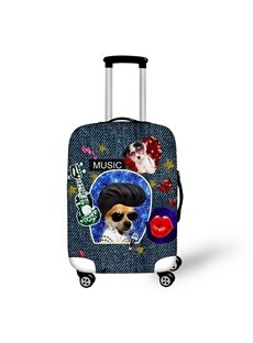 3D Two Dogs Printed Musical Style Painted Luggle Protect Cover