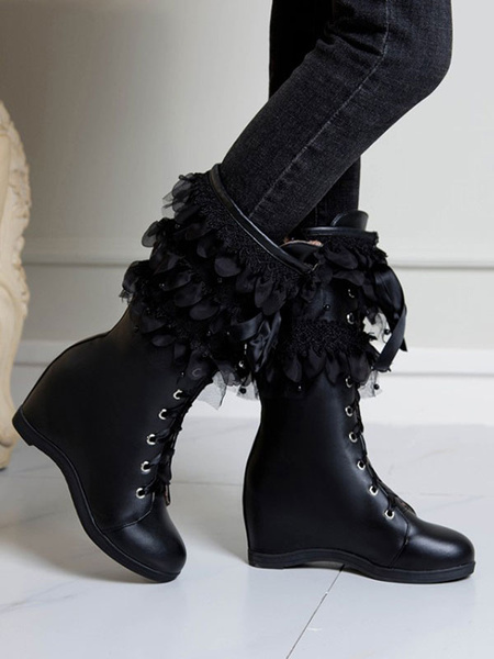 Milanoo Lolita Boots Hidden Heel Lace Up Round Toe PU Leather Lolita Footwear