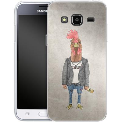 Samsung Galaxy J3 (2016) Silikon Handyhuelle - Punk Rooster von Barruf
