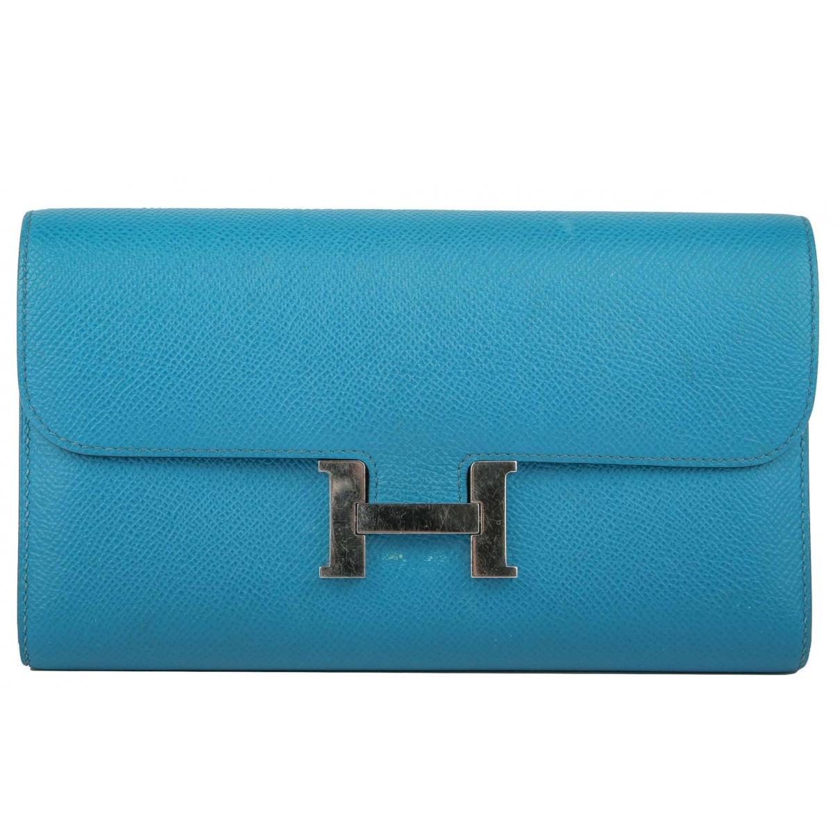 Hermes - Portefeuille Constance pour femme en cuir - turquoise