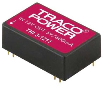 TRACOPOWER THI 3 3W Isolated DC-DC Converter Through Hole, Voltage in 4.5 → 5.5 V dc, Voltage out 5V dc Medical