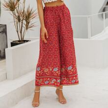 Wide Leg Ditsy Floral Cropped Pants
