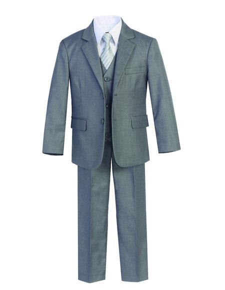 Kids Boys Two Buttons Gray 5 Piece Set Formal Cotton Blend Suit