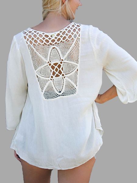 Yoins White Lace-Up 3/4 Sleeve Top With Crochet Back