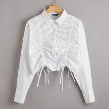 Plus Drawstring Front Button Up Crop Blouse