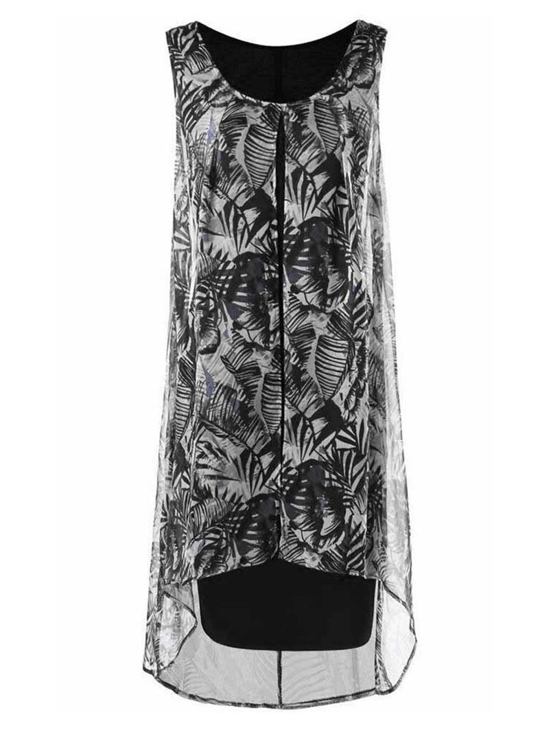 Ericdress Plus Size Asymmetric Patchwork Knee-Length Scoop Print Fashion Dress