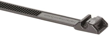 HellermannTyton , Robusto Series Black PA 11 Cable Tie, 180mm x 9 mm