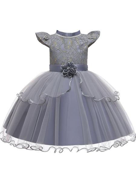 Milanoo Flower Girl Dresses Jewel Neck Polyester Cotton Sleeveless Knee Length Princess Silhouette Beaded Kids Party Dresses