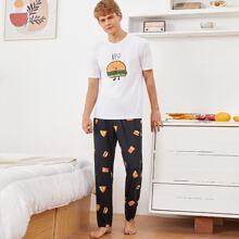Conjunto de pijama top con estampado de letra con pantalones