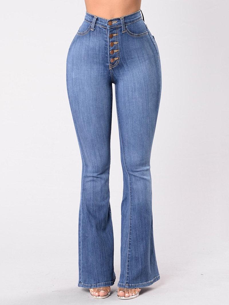 Ericdress Button Bellbottoms Button Women's Slim Jeans